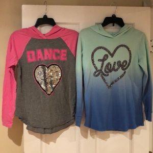 2 Justice tunic shirts Size 14/16